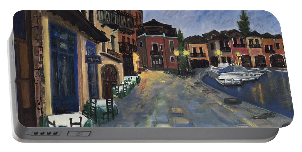 Boats Portable Battery Charger featuring the painting Evening In Greece by Shari Massey