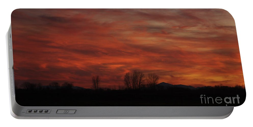 Sunset Portable Battery Charger featuring the photograph Evening In Red by Deborah Benoit
