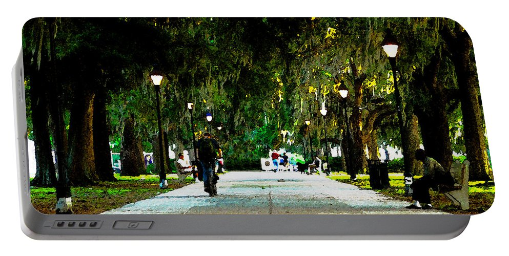 Savannah Georgia Portable Battery Charger featuring the painting Evening In The Park by David Lee Thompson