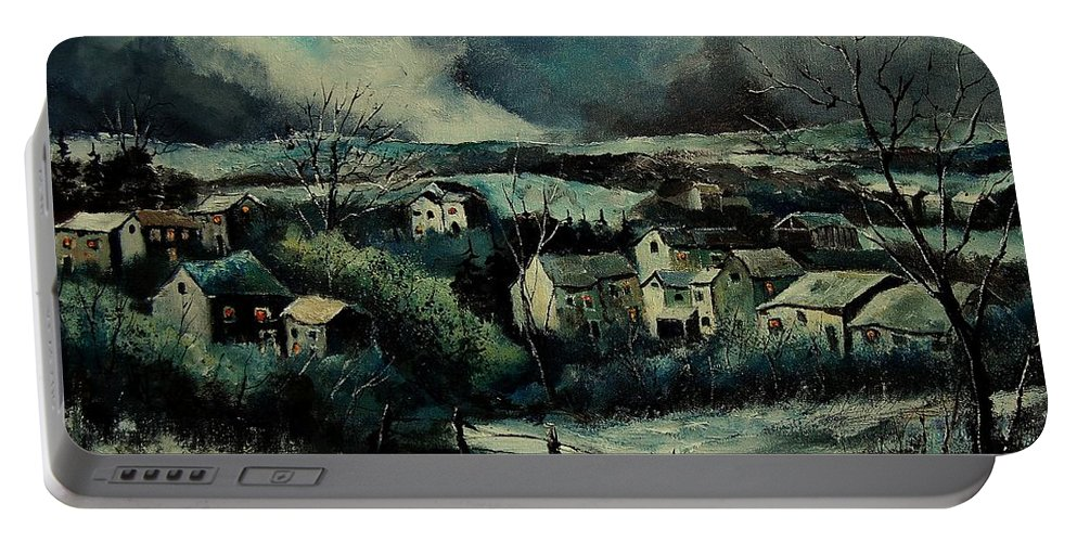 Village Portable Battery Charger featuring the painting Evening Is Falling by Pol Ledent
