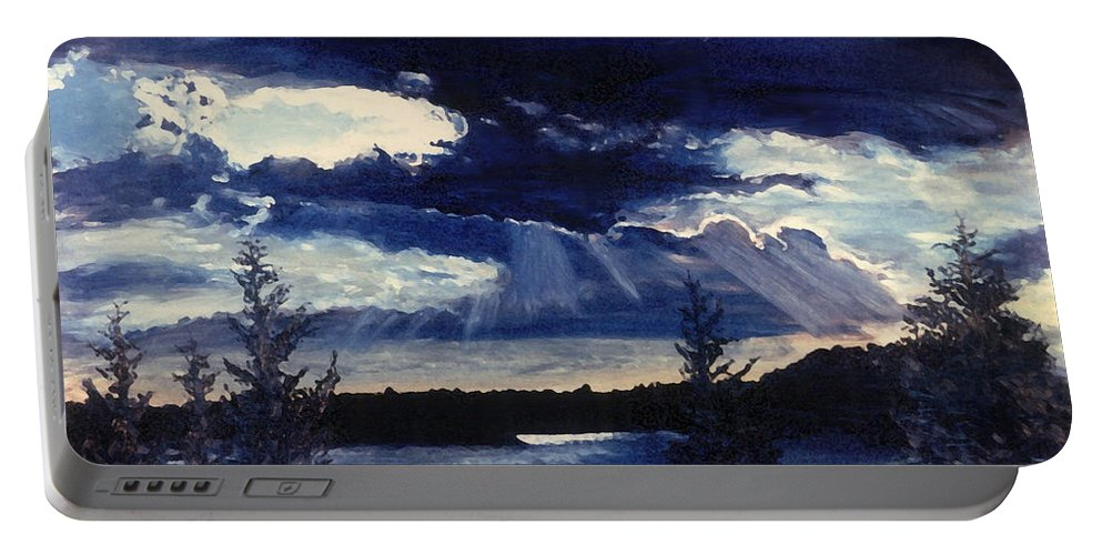 Landscape Portable Battery Charger featuring the painting Evening Lake by Steve Karol
