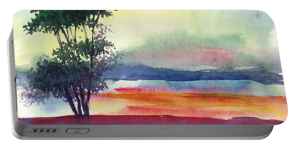 Water Color Portable Battery Charger featuring the painting Evening Lights by Anil Nene