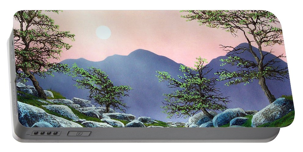 Evening Moonrise Portable Battery Charger featuring the painting Evening Moonrise by Frank Wilson