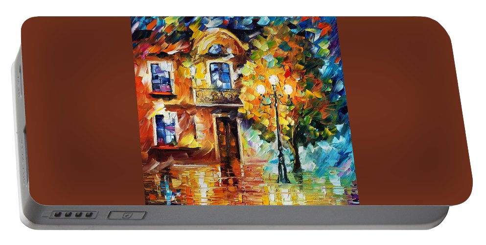 Afremov Portable Battery Charger featuring the painting Evening New Original by Leonid Afremov