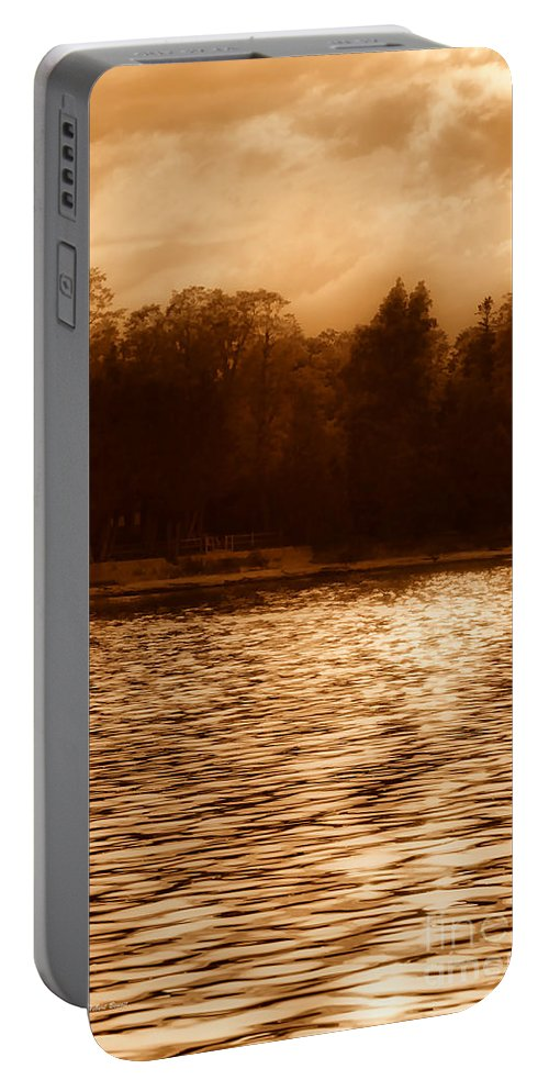 Lake Portable Battery Charger featuring the photograph Evening On The New York Shore by Deborah Benoit