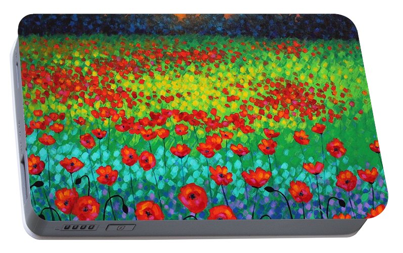 Acrylic Portable Battery Charger featuring the painting Evening Poppies by John Nolan
