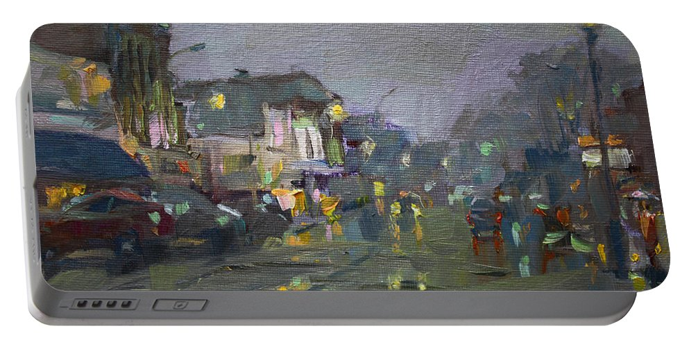 Evening Portable Battery Charger featuring the painting Evening Rain At Webster St by Ylli Haruni