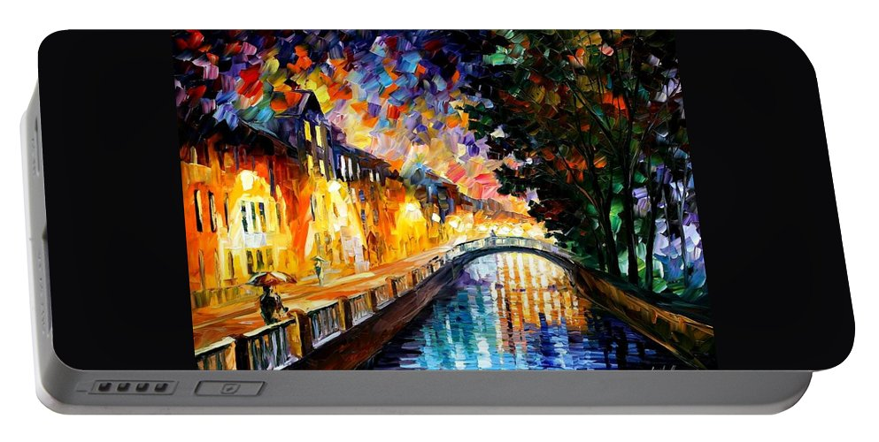 Afremov Portable Battery Charger featuring the painting Evening Rain by Leonid Afremov