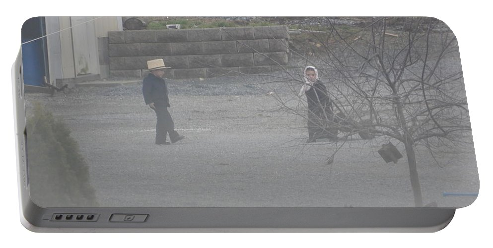Amish Portable Battery Charger featuring the photograph Evening Relaxation by Christine Clark