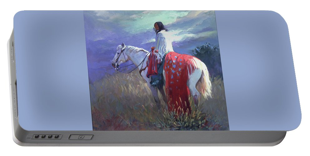Native American Portable Battery Charger featuring the digital art Evening Solitude L. E. P. by Betty Jean Billups