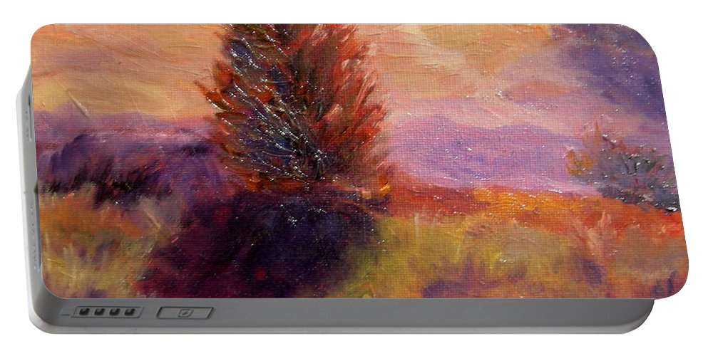 Portable Battery Charger featuring the painting Evening Splendor by Rose Lynch