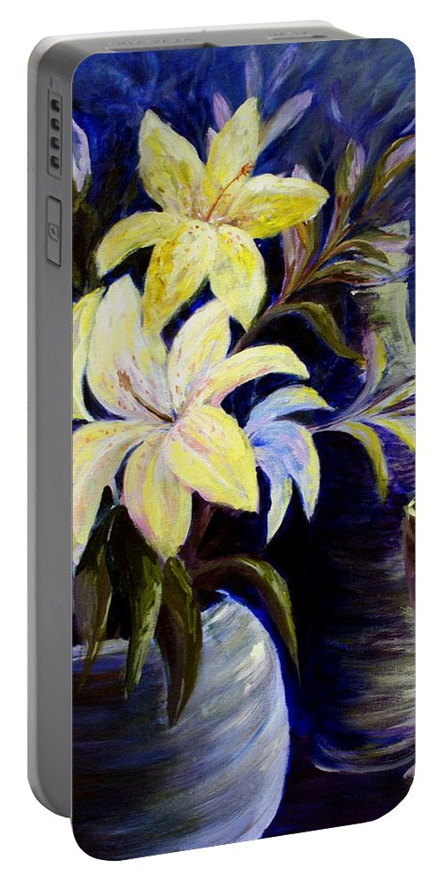 Lilies Portable Battery Charger featuring the painting Evening Stars by Joanne Smoley