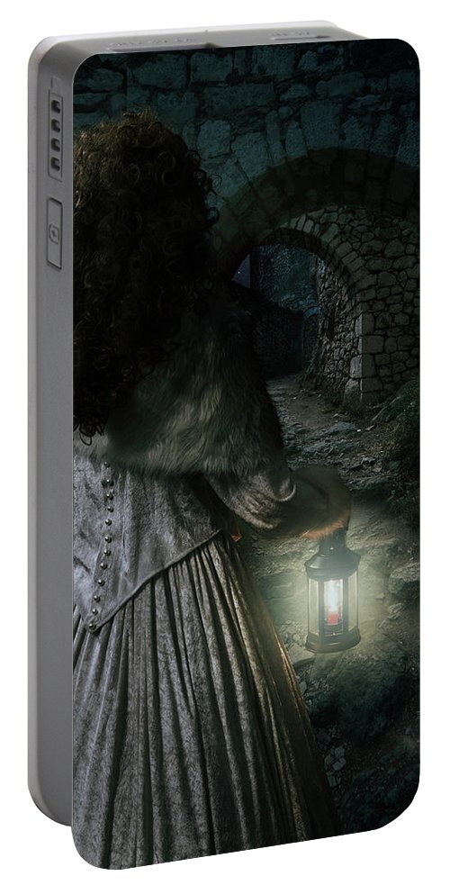 Girl Portable Battery Charger featuring the photograph Evening Walk In Old Ruins by Jaroslaw Blaminsky