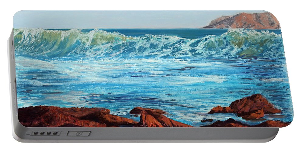 Ocean Portable Battery Charger featuring the painting Evening Waves by Mary Benke