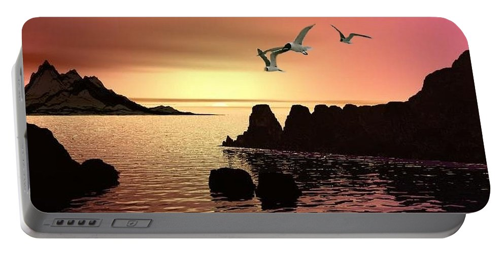 Sunset Portable Battery Charger featuring the digital art Evening's End by Norma Jean Lipert