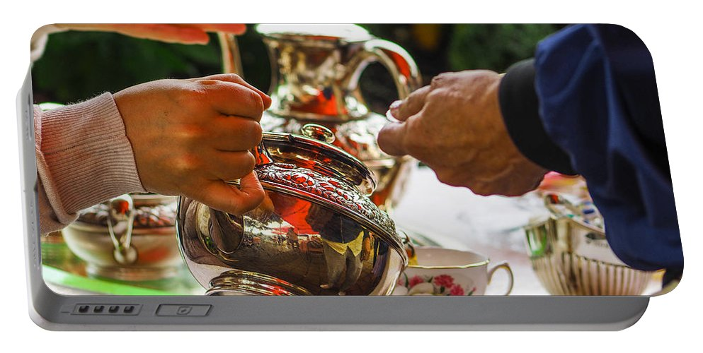 Hands Portable Battery Charger featuring the photograph Event - Tea Garden Party - Serving by Arthur Babiarz