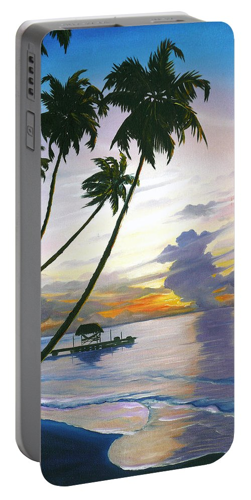 Ocean Painting Seascape Painting Beach Painting Sunset Painting Tropical Painting Tropical Painting Palm Tree Painting Tobago Painting Caribbean Painting Original Oil Of The Sun Setting Over Pigeon Point Tobago Portable Battery Charger featuring the painting Eventide Tobago by Karin Dawn Kelshall- Best