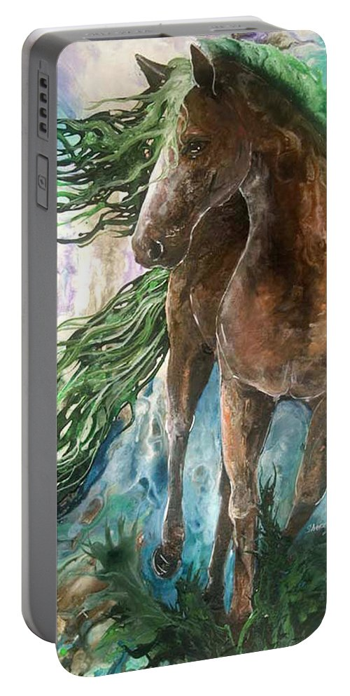 Horse Portable Battery Charger featuring the painting Ever Green Earth Horse by Sherry Shipley