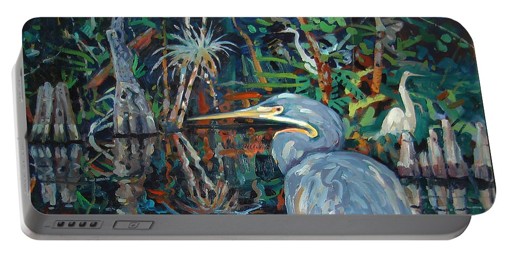 Blue Herron Portable Battery Charger featuring the painting Everglades by Donald Maier