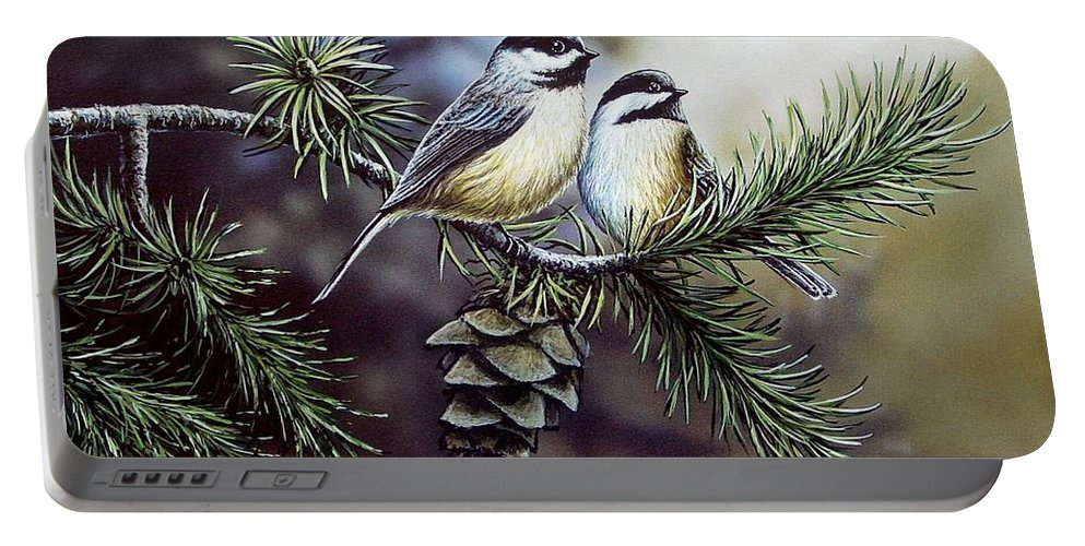 Chickadees Portable Battery Charger featuring the painting Evergreen Chickadees by Anthony J Padgett
