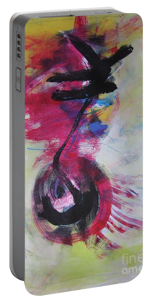 Abstract Paintings Red Paintings Portable Battery Charger featuring the painting Everything A Mistake-abstract Red Painting by Seon-Jeong Kim