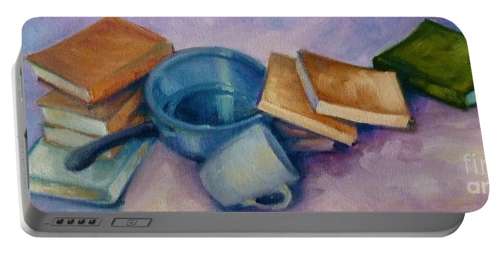 Still Life Portable Battery Charger featuring the painting Everything But The Kitchen Sink by K M Pawelec