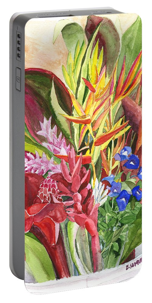 Flowers Portable Battery Charger featuring the painting Everywhere There Were Flowers by Eric Samuelson
