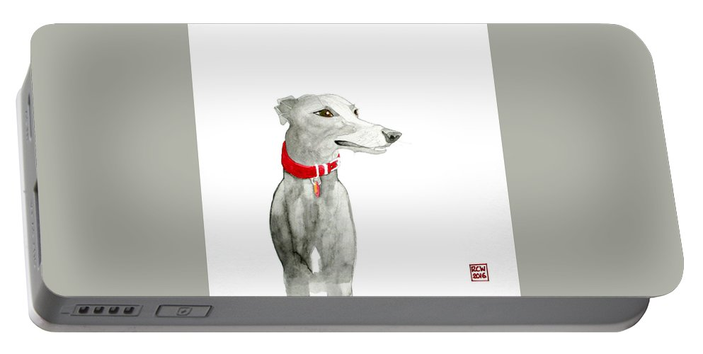 Dog Portable Battery Charger featuring the painting Evie by Richard Williamson