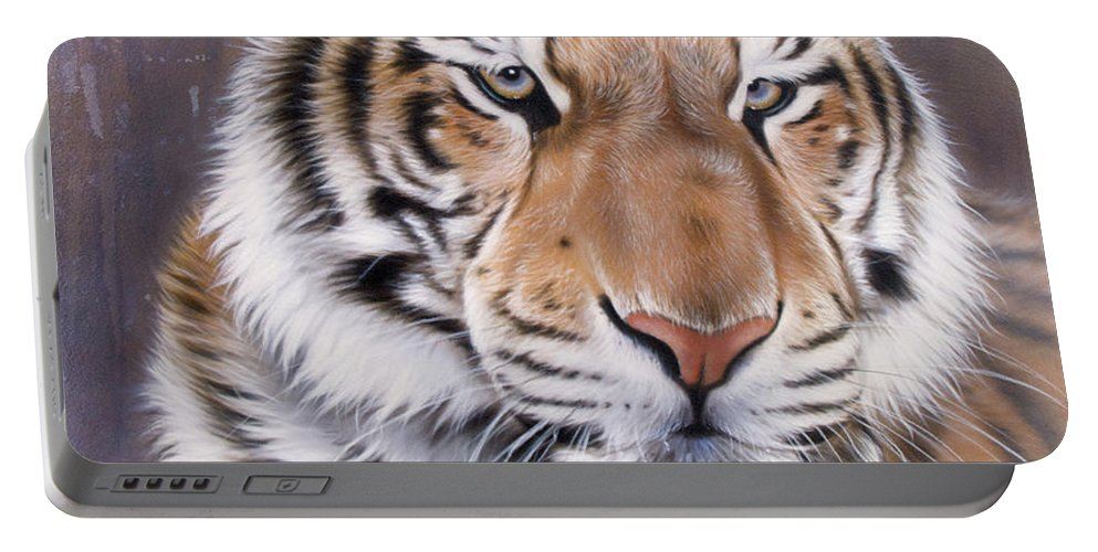 Wildlife Portable Battery Charger featuring the painting Evo by Sandi Baker
