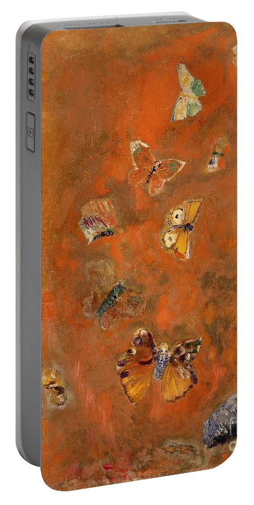 Evocation Portable Battery Charger featuring the painting Evocation of Butterflies by Odilon Redon