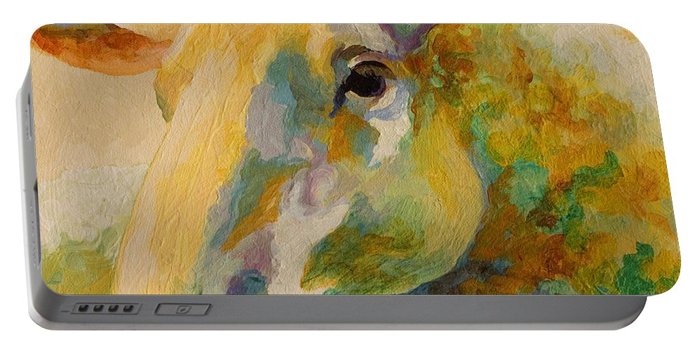 Llama Portable Battery Charger featuring the painting Ewe Portrait IIi by Marion Rose