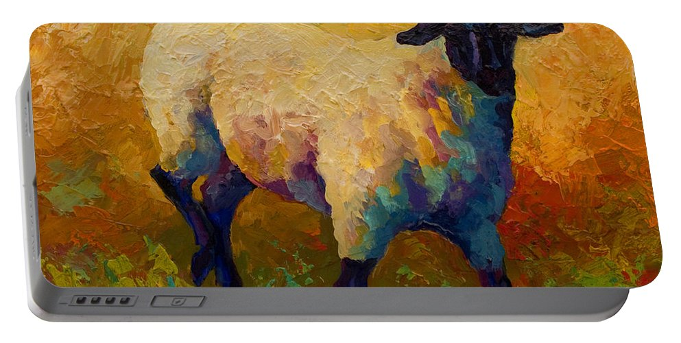 Sheep Portable Battery Charger featuring the painting Ewe Portrait Iv by Marion Rose