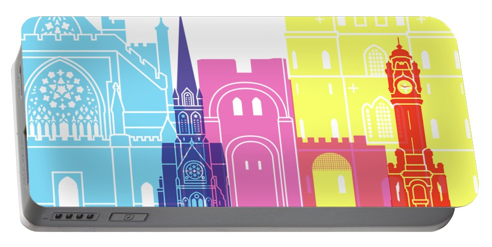 Exeter Portable Battery Charger featuring the painting Exeter Skyline Pop by Pablo Romero