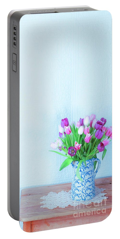 Tulips Portable Battery Charger featuring the photograph Exhilaration Of Spring by Jean Saxon