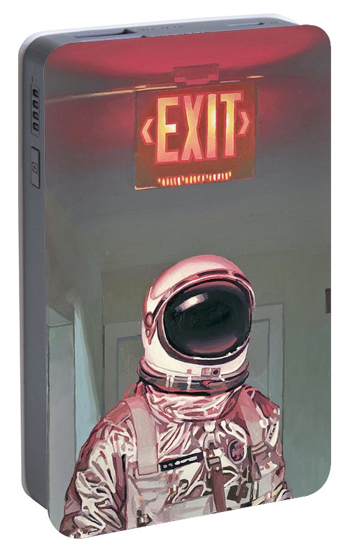Astronaut Portable Battery Charger featuring the painting Exit by Scott Listfield