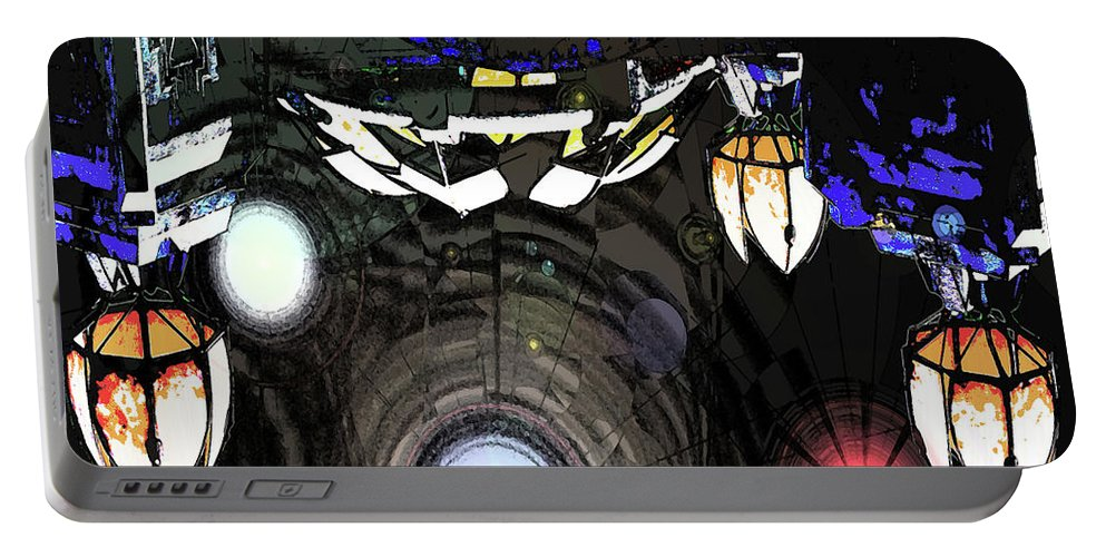 Abstract Portable Battery Charger featuring the digital art Exiting The Mother Ship by DigiArt Diaries by Vicky B Fuller