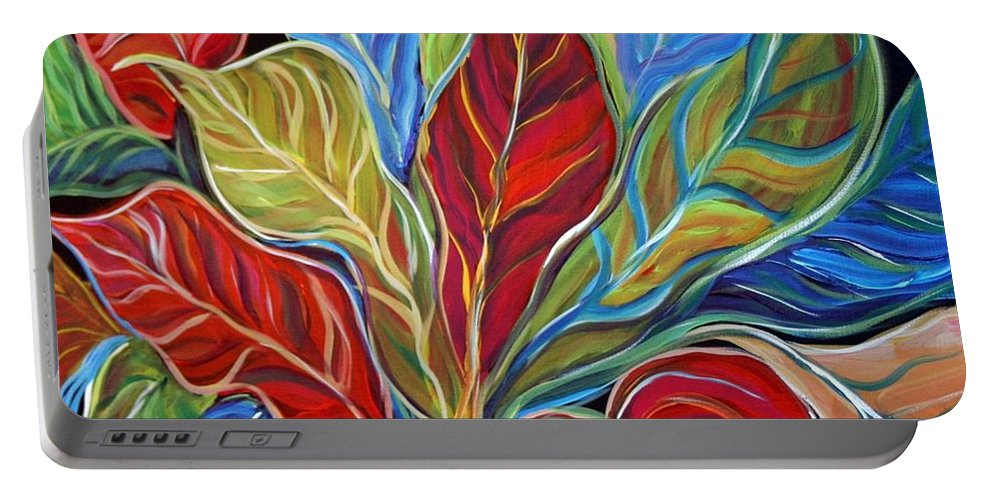 Art Portable Battery Charger featuring the painting Exotic Foliage by Luiza Vizoli