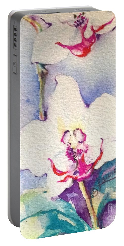 Florals Portable Battery Charger featuring the painting Exotica by Laurel Adams