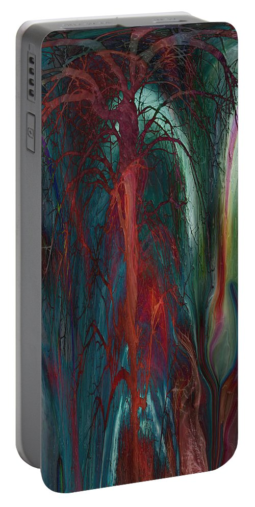 Abstracts Portable Battery Charger featuring the digital art Experimental Tree by Linda Sannuti