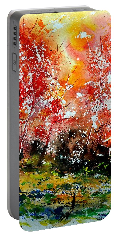 Nature Portable Battery Charger featuring the painting Exploding Nature by Pol Ledent