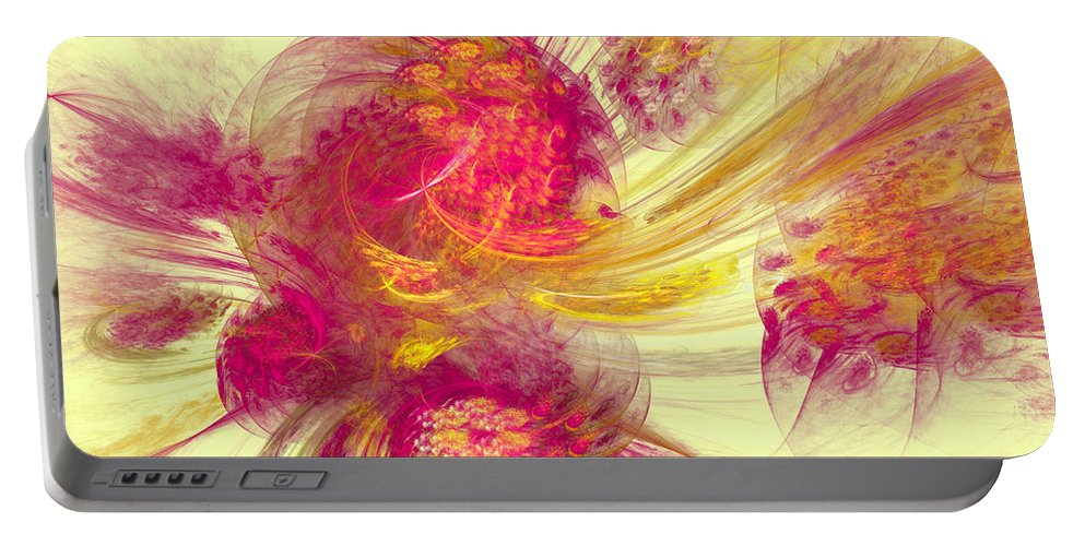 Pink Portable Battery Charger featuring the digital art Explosion Of Color by Deborah Benoit
