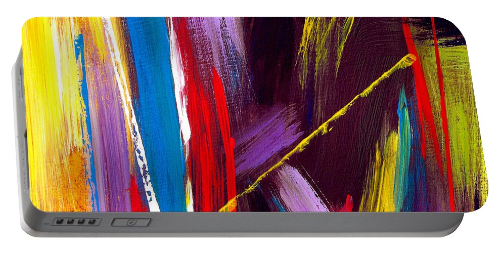 Abstract Portable Battery Charger featuring the painting Express Yourself by Ruth Palmer