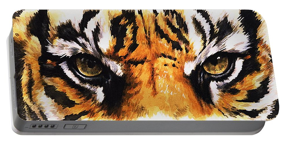 Feline Portable Battery Charger featuring the mixed media Sumatran Tiger Glare by Barbara Keith