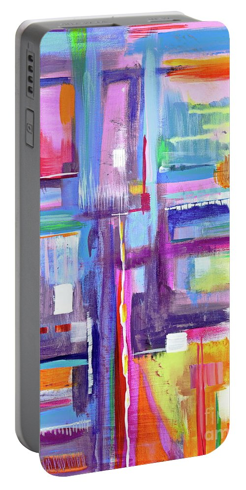 A Scape. New Series Begins Here.and The Title Eyedropper Portable Battery Charger featuring the painting Eye Dropper by Priscilla Batzell Expressionist Art Studio Gallery