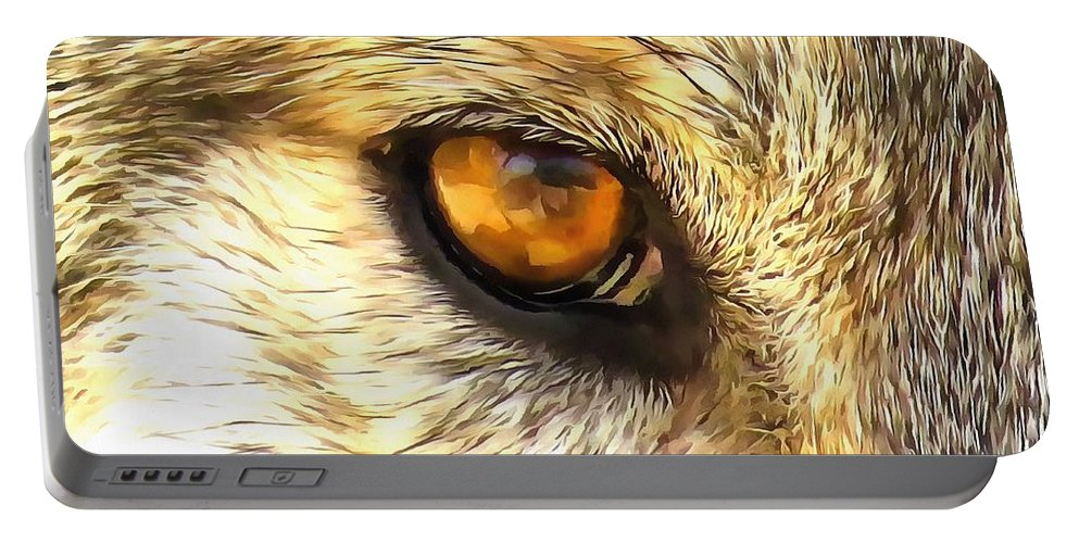 Adult Portable Battery Charger featuring the digital art Eye Of A Wolf. by Michael Farndell
