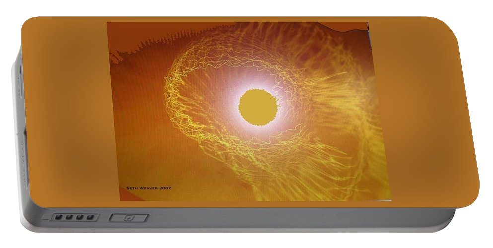 The Powerful Gaze Of The Almighty. Destroying Evil With His Almighty Sight. Portable Battery Charger featuring the digital art Eye Of God by Seth Weaver