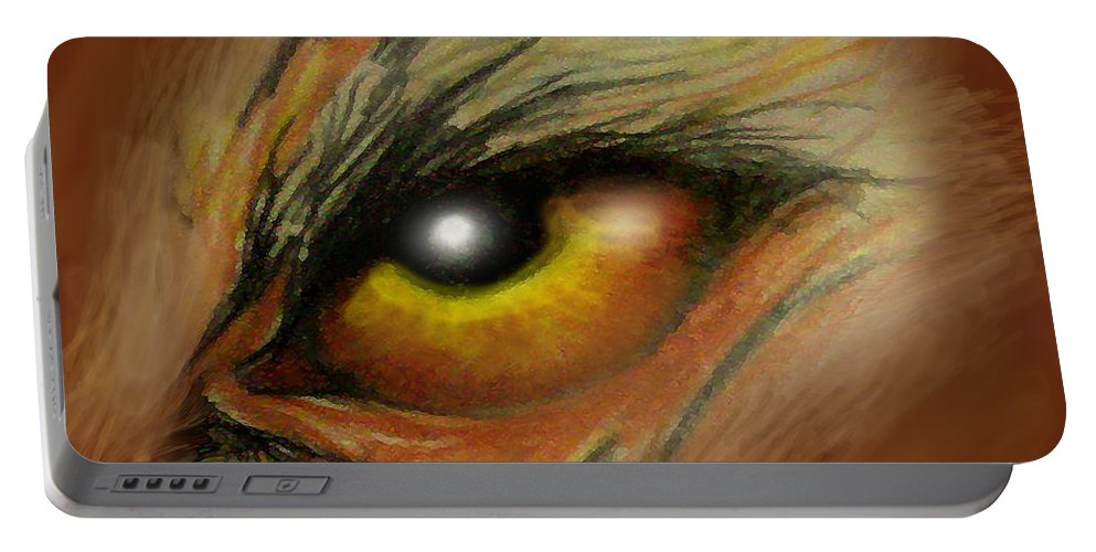 Eye Portable Battery Charger featuring the painting Eye Of The Beast by Kevin Middleton