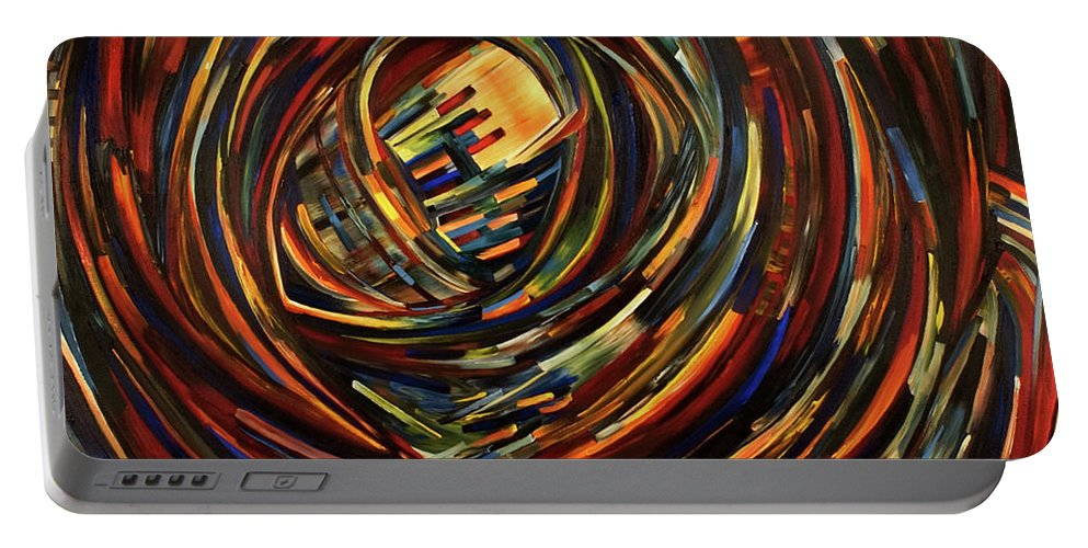 Abstract Portable Battery Charger featuring the painting Eye Of The Cosmos by Gretchen Dreisbach