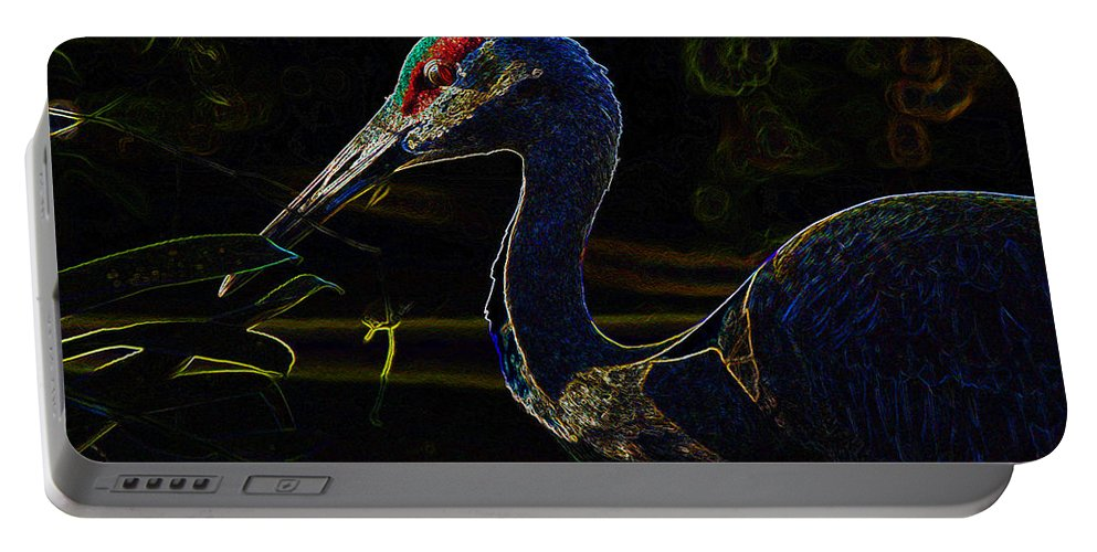 Bird Portable Battery Charger featuring the painting Eye Of The Crane by David Lee Thompson