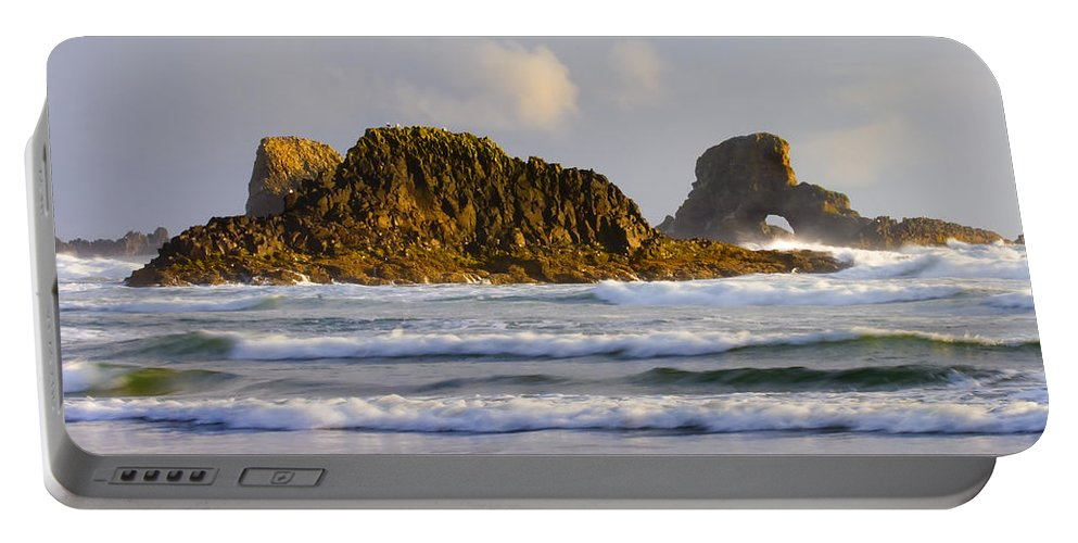 Seastacks Portable Battery Charger featuring the photograph Eye Of The Storm by Mike Dawson